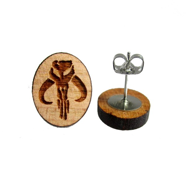 mythosaur boba fett mandalorian skull symbol wooden stud earrings
