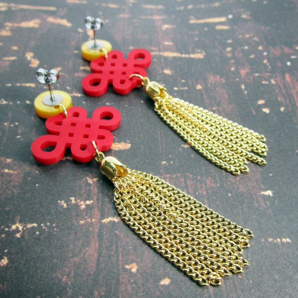 Chinese Lucky Knot Red and Gold Chain Tassle Stud Dangle Earrings for Chinese New year and clebrations large red knot pattern with golden chain dangle tassles hanging off golden circle studs