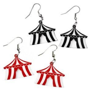 Cute Little Black or Red Carnival Circus Tent Big Top Dangle Statement earrings jewelry
