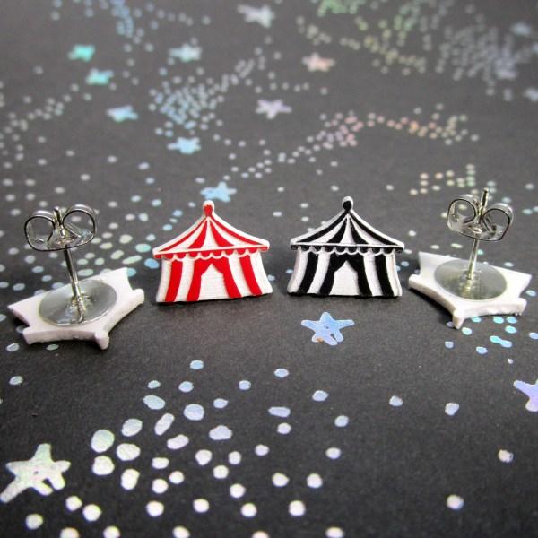 Cute Little Black or Red Carnival Circus Tent Big Top Stud Earrings