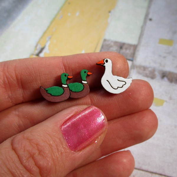 Duck Duck Goose mismatch Funny Kids Childrens classic game stud earrings good for preschool elementary school teachers