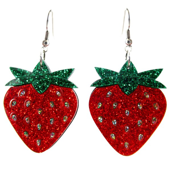 Big Red Strawberry Glitter Earrings Rave Summer Spring Harvest Berry Kawaii Sweet Girl Dangle Earrings