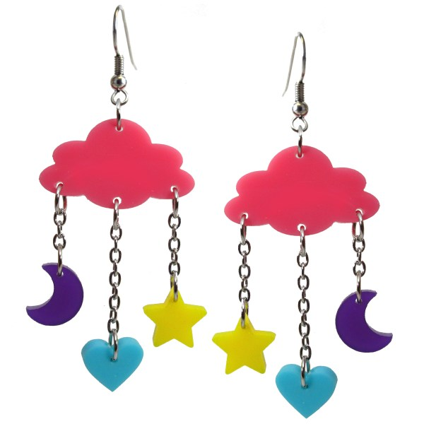 Decora Dream Pink Cloud with Pastel Star Moon and Heart Charms Dangle Earrings Harajuku kowaii jewlery