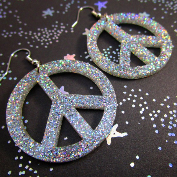Iridescent Glitter Big Peace Sign Dangle Earrings HIppie boho classic peace symbol jewelry