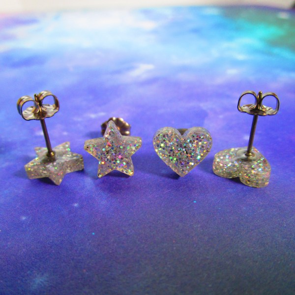 Iridescent Glitter star and heart stud earring set pairs little glitter studs jewelry pair
