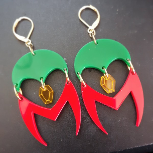 Westview Super Lovers Wanda Scarlet Witch and the Vision red and green logo Infinity stone inspired earrings design