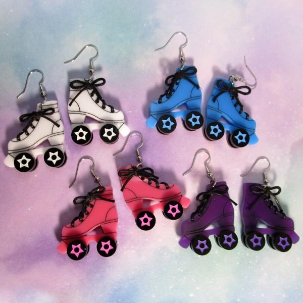 Big D Roller Skate Skates colorful dangle rollerskates earrings derby skater girl jewelry