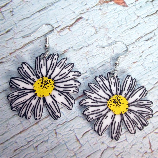 Big Flat Spring Daisy Cartoon Etched Acrylic Big retro white and yellow flower dangle earrings statement jewelry