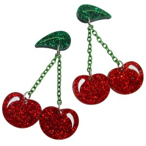 Bing Cherries Red Glitter Cherry fruit dangle stud earrings twin cherries big earrings jewelry pinup