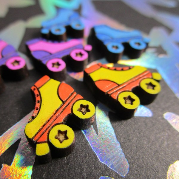 Cute Roller Skate Skates colorful studs rollerskates stud earrings derby skater girl jewelry