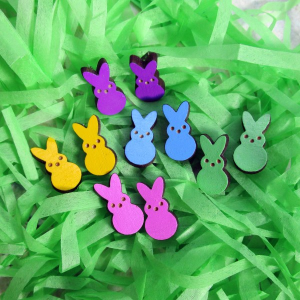 Easter Bunny Rabbit Peeps Candy small painted wood stud Earrings lightweight pink green white yellow bunny peep shape jewelry