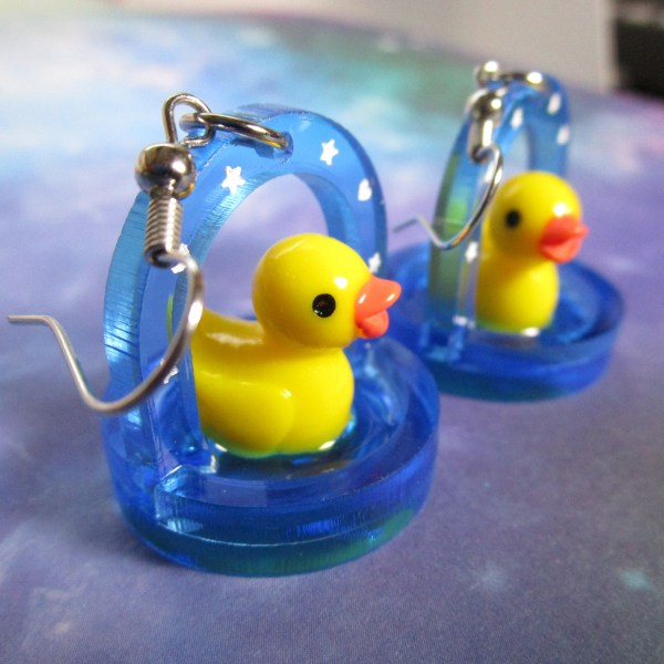 Funny Rubber Ducky in little Pond D Duck Water Statement Dangle Earrings Cute Easter Spring time jewlery