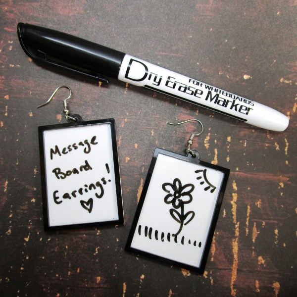 Message Protest Rewritable erasable dry erase market white board dangle earrings for messages or protests jewelry