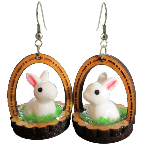 Rabbit in Easter Bunny Basket Wood Toy Statement Earrings Funny Jewelry
