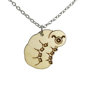 Tardigrade Water Bear Moss Piglet Pendant Wood Statement Pendant Necklace Science Jewelry