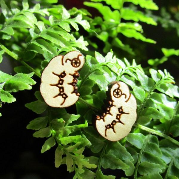Tardigrade Water Bear Moss Piglet Pendant Wood Stud Post Earrings Science Jewelry
