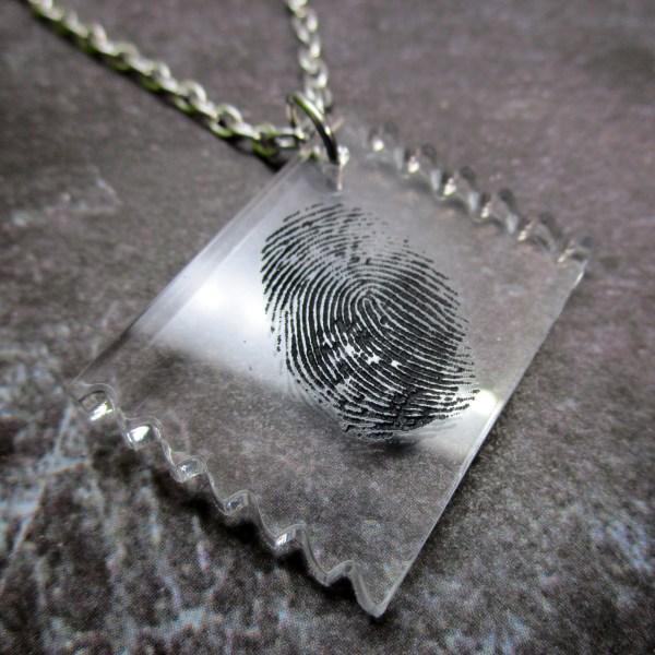 CSI Fingerprint Finger Print Tape Lift Funny Crime Scene Investigator Clue Murder Mystery Evidence Costume Pendant Necklace Jewelry