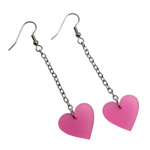 Long chain dangling pink heart hanging dangle earrings mom mitchells machines cosplay costume earrings jewelry