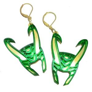 loki god of mischief helmet horns green gold dangle earrings on leverback hooks jewelry