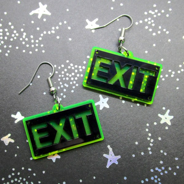 Neon Green EXIT Sign funny Rave Earrings Glows in Black Light Jewelry