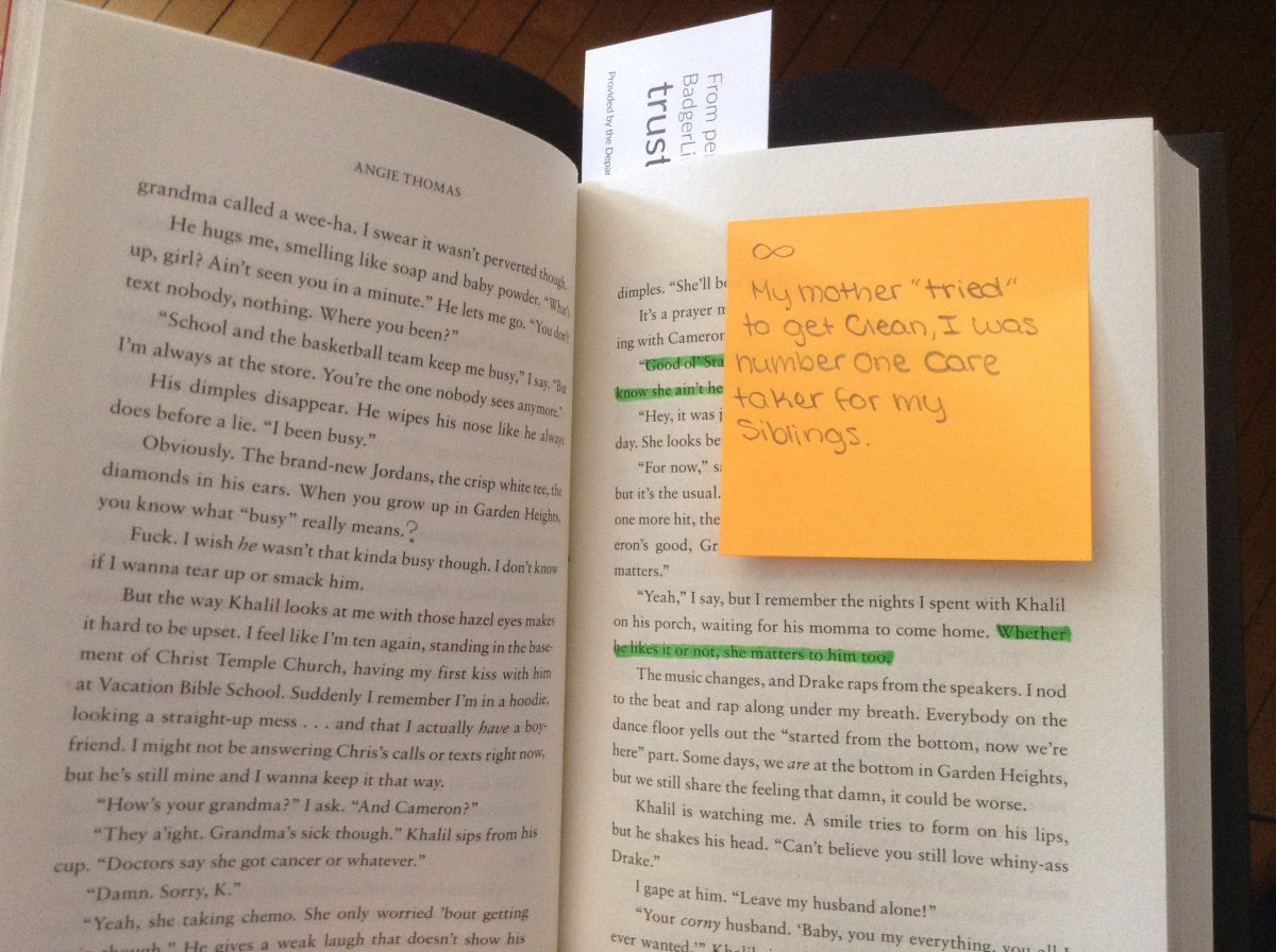 An annotation in The Hate U Give with a student's connection