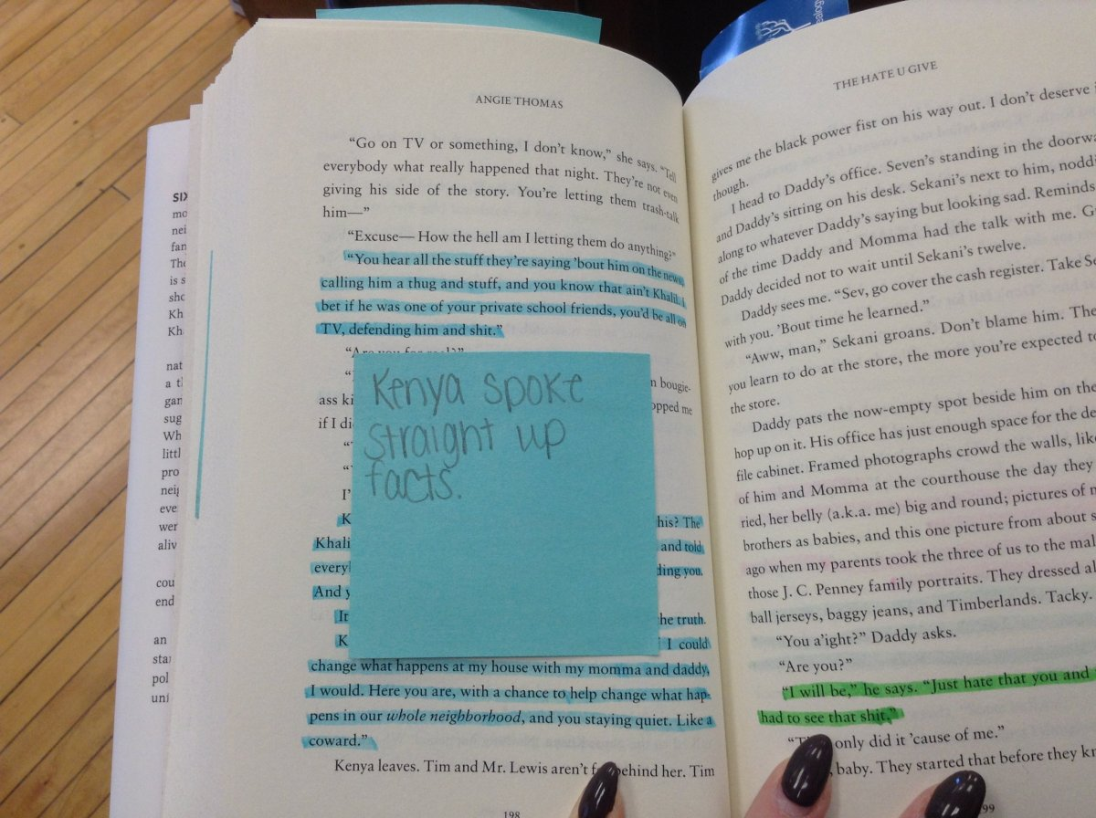 A student's early attempt at close reading and annotating The Hate U Give