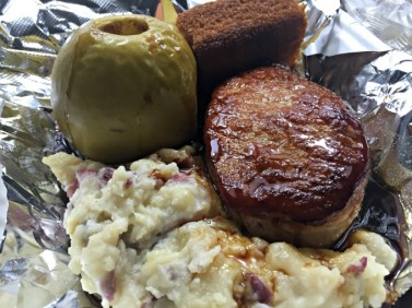 Apple cider Pork Chop with cornbread and mashed redskin potatoes.