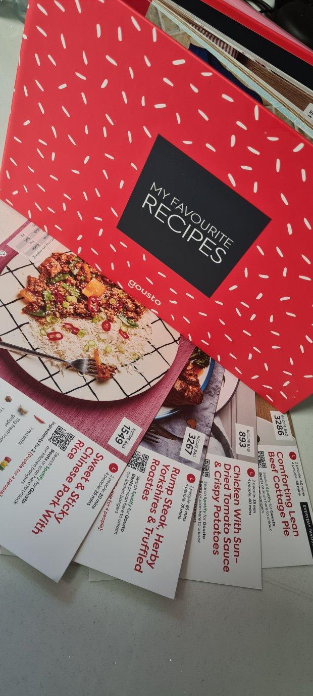 Gousto meal kit recipe cards