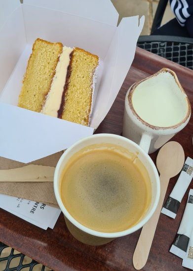 St Peters garden centre worcester - victoria sponge cake and coffee