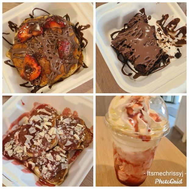 Just desserts Burnham on sea pancakes, brownie, mini pancakes and strawberry sundae