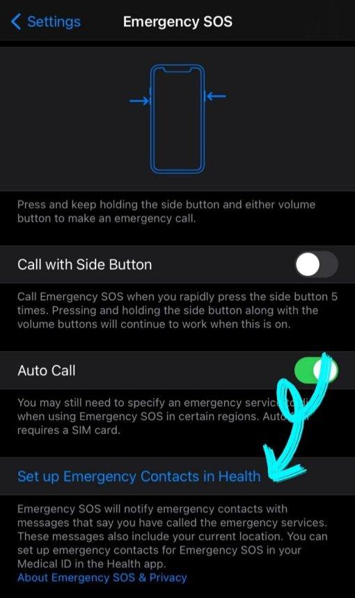 iphone emergency contact setup