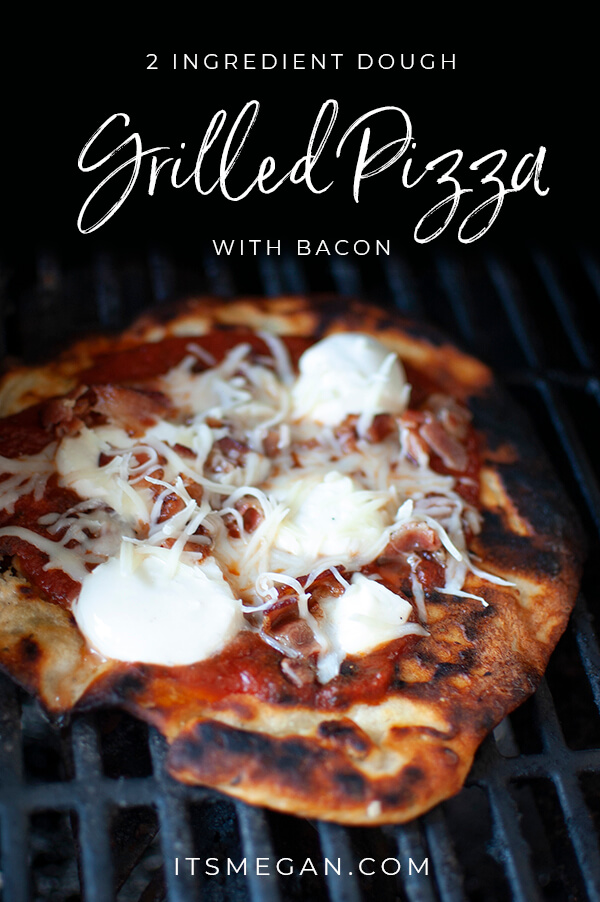 2 Ingredient Dough Grilled Bacon Pizza | It's Megan Blog | #pizza #2ingredientdough #weightwatchers #bacon #tarteflambee