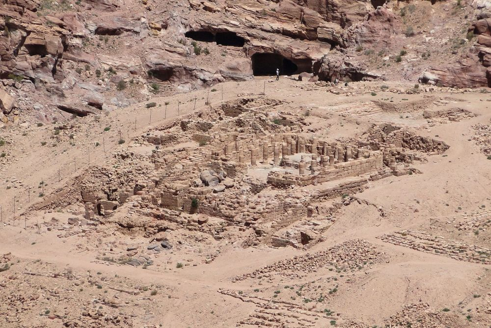 A photo of the ruins of the Temple of Winged Lions in Petra, Jordan