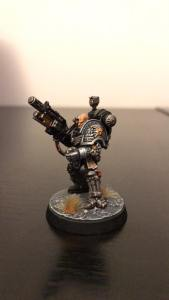 The Flesh is Weak! An Iron Hand Marine in Deathwatch Armour, same chapter as Brother Alonso. Painted by Kevin Williamson