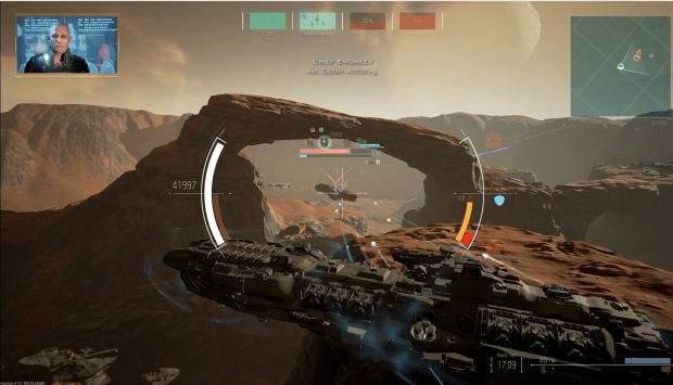 One of the secondary modules in Dreadnought is the Plasma Barrage which launches a broadside at targets that you pass. You don't have to be 90 degrees from them, near enough is usually near enough