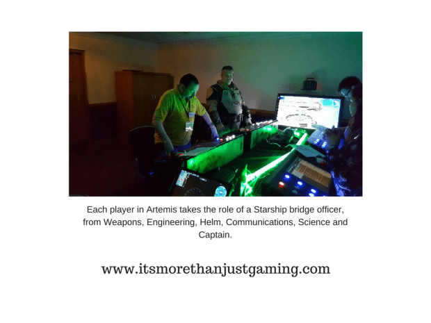 Artemis is a Starship Bridge SImulator where six players take the traditional roles of a starship bridge crew, much like in Star Trek and play a mission. There is computer gameplay and a bit of roleplay involved.