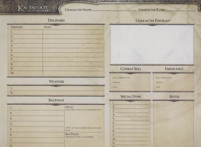 Lone Wolf Adventures has a collection of Double sided blank character sheets for when you want to create your own Kai Lord