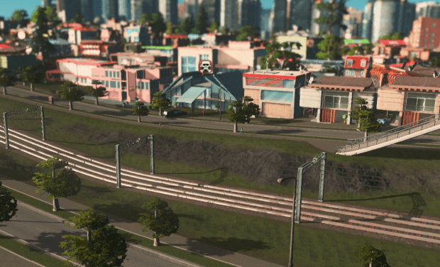 Hearse in low density residential area in Cities Skylines