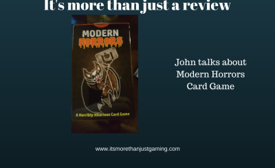 I did a review of the game Modern Horrors, a top trumphs style card game that takes a satirical swipe at modern life