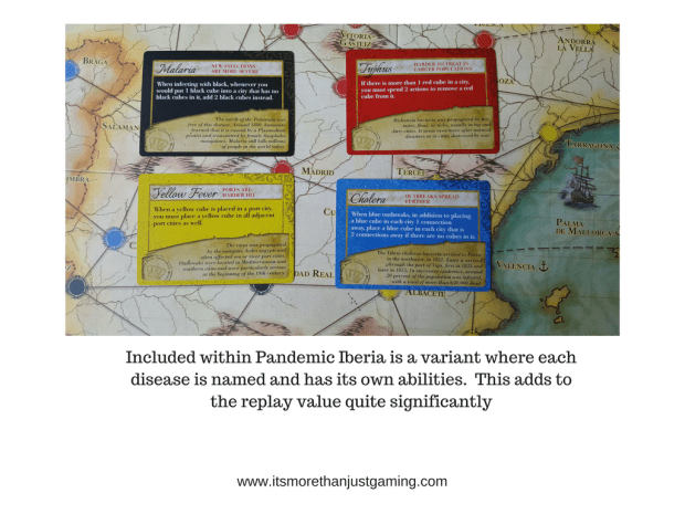 Included within Pandemic Iberia is a variant where each disease is named and has its own abilities. This adds to the replay value quite significantly