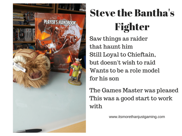 Steve the Bantha's fighter has a deeper background which means that there is more for the gamesmaster to work with, and more for Steve the Bantha to do, even when there is no fighting