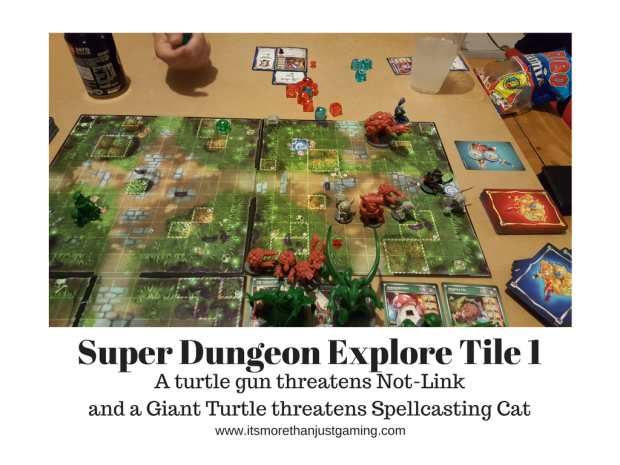 Super Dungeon Explore and there is danger for the Tabbybrook Mage as a giant turtle threatens, whilst a turtle gun shoots the Deepwood Scout