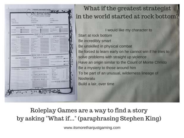 "Roleplay Games are a way to find a story by asking ""What if..."" (paraphrasing Stephen King)"