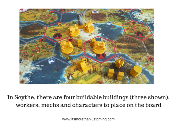 In Scythe, there are four buildable buildings (three shown), workers, mechs and characters to place on the board