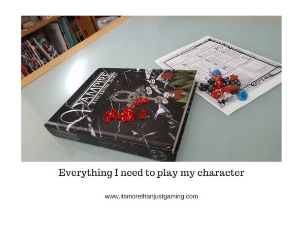 On game night I want my character sheet, dice, tokens and rules