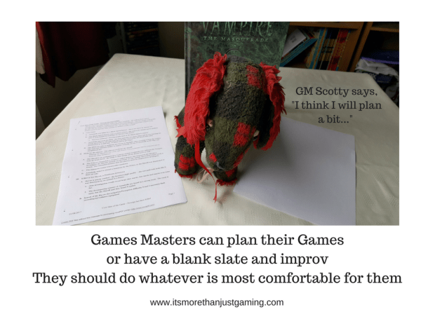 Games Masters can plan their Games or have a blank slate and improv They should do whatever is most comfortable for them