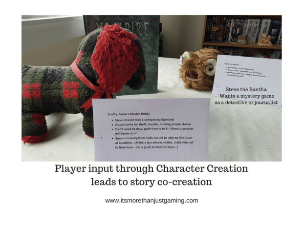 Player input at Character creation leads to story co-creation
