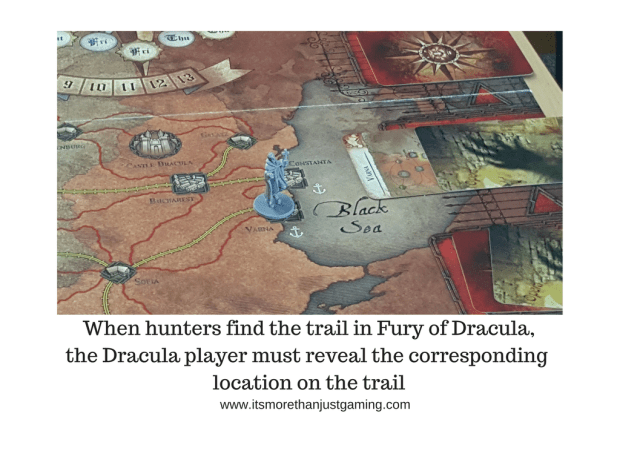 When hunters find the trail in Fury of Dracula,the Dracula player must reveal the corresponding location on the trail