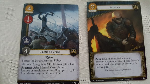 Silence's Crew and Plunder cards for game of thrones cardgame