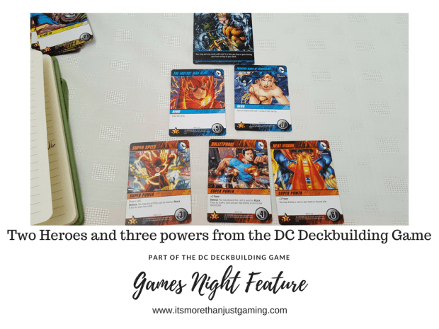 Two heroes and three powers from the DC Deckbuilding game